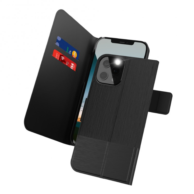 Proxa Flip Cover Wallet Case for IPhone 12 / 12 Pro (Classic Black)