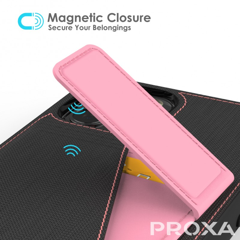 Proxa Rotational Wallet Case for iPhone 12 / 12 Pro (Rose Pink)