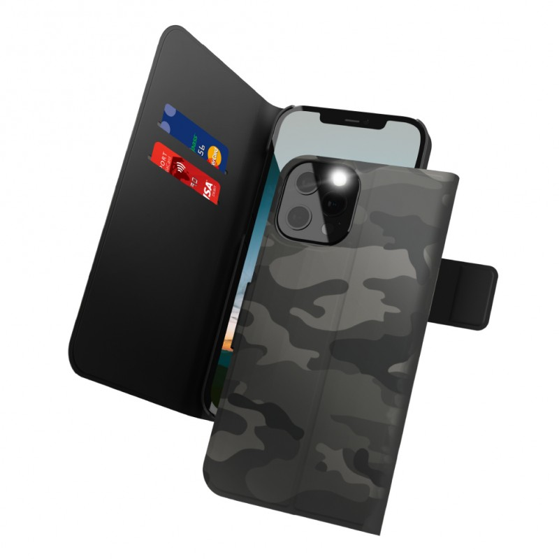 Proxa Flip Cover Wallet Case for IPhone 12 Pro Max (Camouflage Grey)