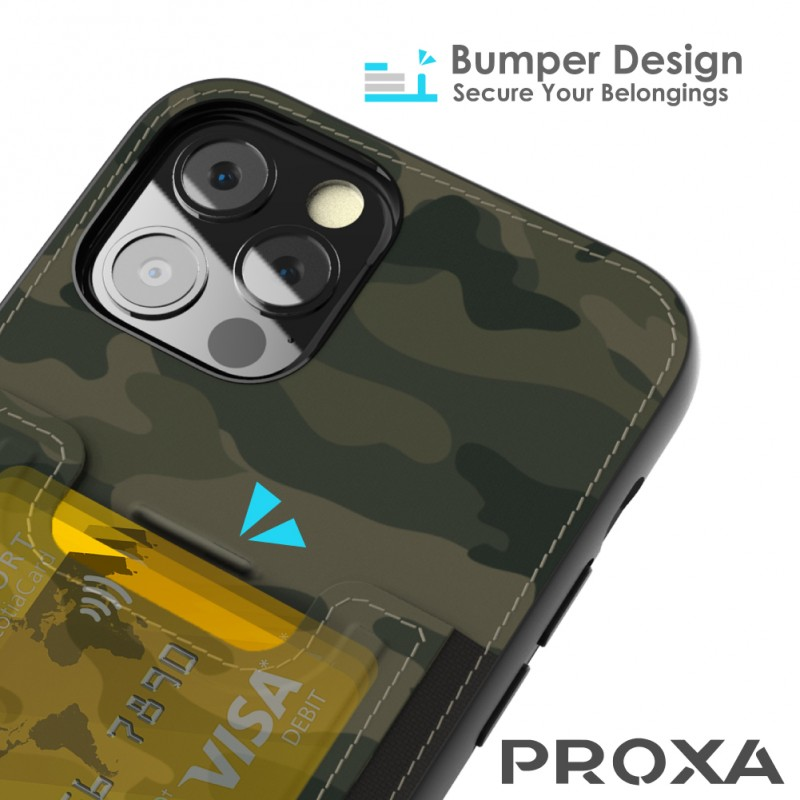Proxa Slim Card Case for IPhone 12 Pro Max (Camouflage Green)
